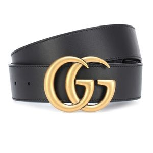 Authentic Gucci Wide Double G Leather Belt